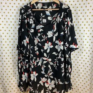 Michel Studio black floral open sleeve blouse 3x